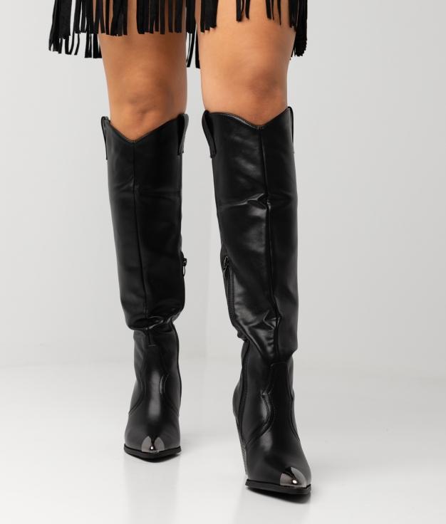 Knee-Length Boot Pruk - Black Polipiel