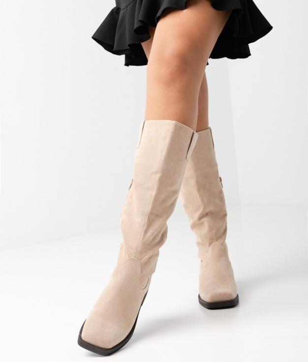 Carlie Knee-length Boot - beige