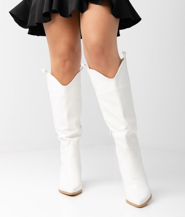 NIEVES KNEE-LENGHT BOOT - WHITE